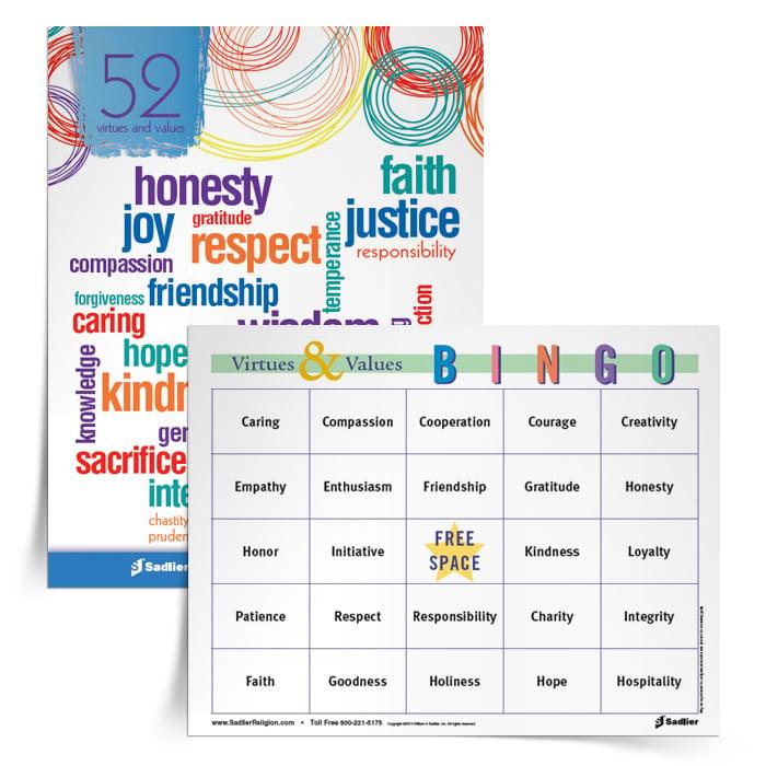 Virtues & Values Bingo Game