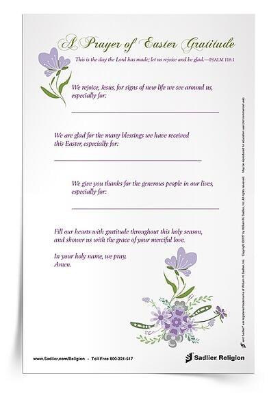 Easter Season Printables for Catholic Families - A Prayer of Easter Gratitude