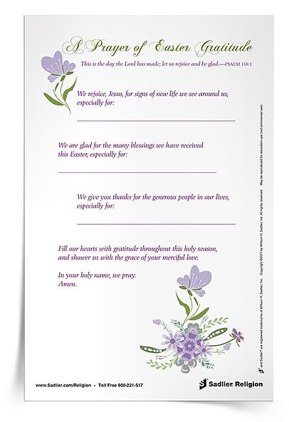Easter Season Printables for Catholic Families - A Prayer of Easter Gratitude