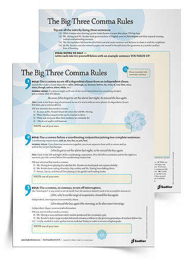 Give students The Big Three Comma Rules explained in simple, memorable terms. Then let them practice with exercises and apply to their writing.