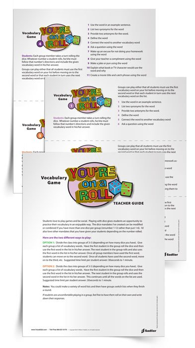 My You're on a Roll Dice Game is another fun example of vocabulary games for high school students. In fact, as the days get warmer and the attention spans get shorter, you could have students play both You're On a Roll and Vocab-Zee in groups.