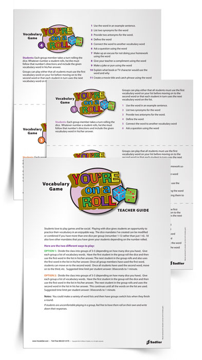 The You're on a Roll Vocabulary Game makes vocabulary instruction fun and social with a dice game. Playing with dice gives students an opportunity to practice their vocabulary in an enjoyable way.
