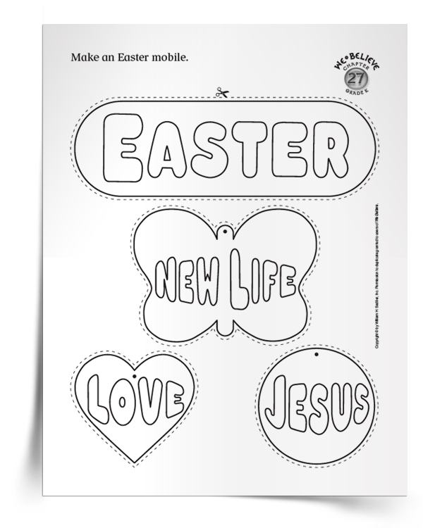 Make Easter mobiles with the children in your Catholic Parish or Religious Education Program using this printable handout! easter-resources-catholic-easter-activities-mobile