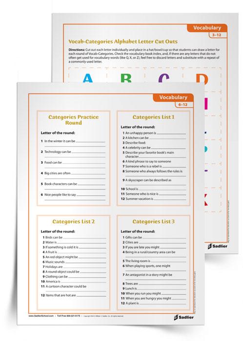 picture regarding Scattergories Lists 1 12 Printable titled Vocab-classes Vocabulary Activity
