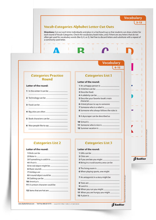 I love playing vocabulary games where students have to incorporate their vocabulary in multifarious ways. Inspired by Hasbro® Scattegories™ , the Vocab-Categories game requires students to use vocabulary creatively! My printable vocabulary game includes letter cut-outs, student instructions, vocab-category lists, and make-your-own list cards.