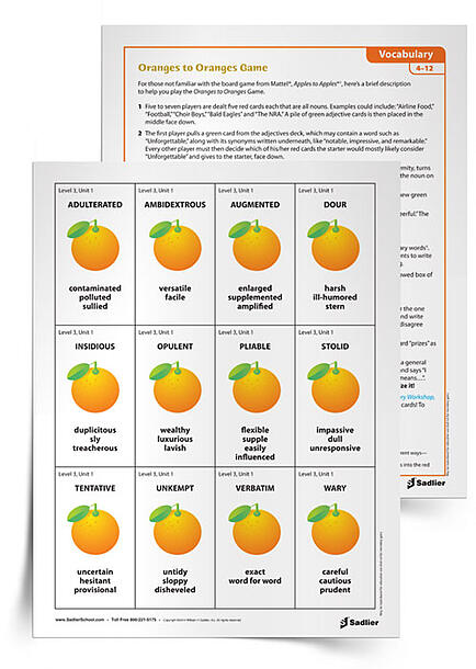 I have never played a game of Oranges to Oranges without laughing, and I think that it can be an easy sell for learners who will not mind reviewing their vocabulary through play.