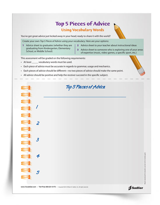 Vocabulary Activity Worksheet 5 Pieces Of Advice Using Words