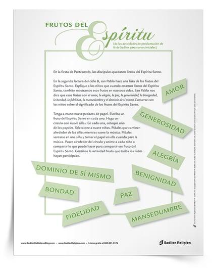 Pentecostes para ninos actividades - Frutos del Espiritu