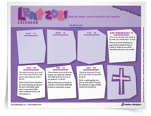 Lenten Calendar 2021 - Daily Activities for Lent 2021
