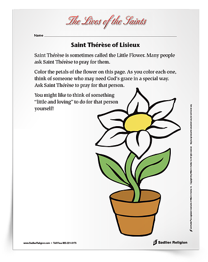 Download a printable activity to share with Catholic kids on the feast day of Saint Thérèse of Lisieux on October 1.