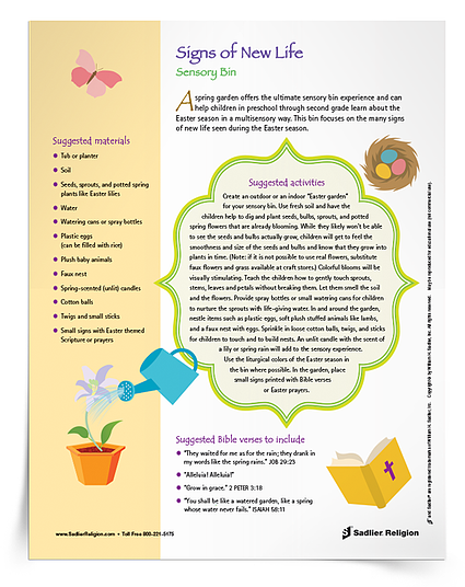 download instructions and inspiration for a Signs of New Life Easter Themed Sensory Bin.