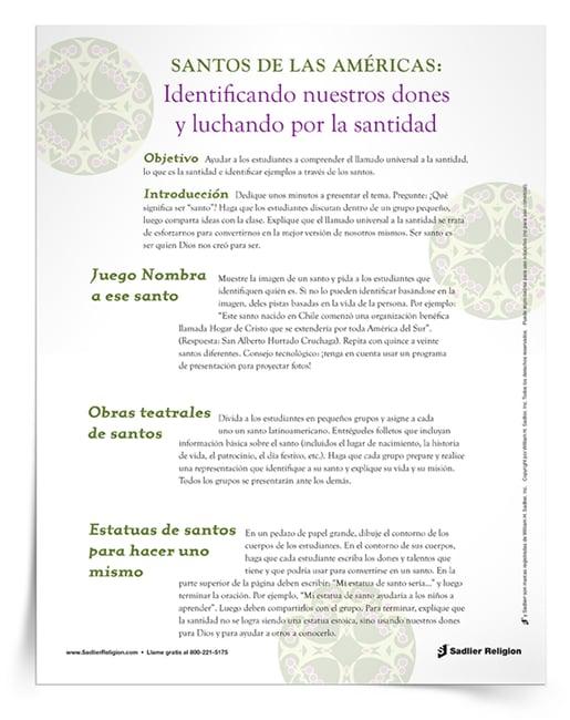 El Libro Electrónico Día de Todos los Santos: Actividades para involucrar a los jóvenes y la Minilección Santos de las Américas se agrupan en un solo recurso del Día de Todos los Santos.