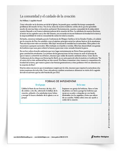 """Recursos imprimibles """"Cuidado de la creación de Dios"""" para católicos - Artículo para el cuidado comunitario de la creación"""