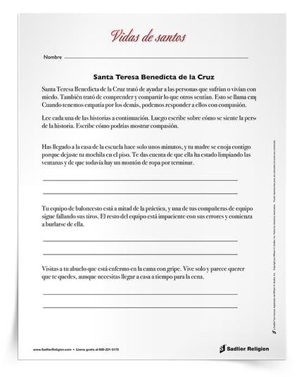 Actividades que se pueden imprimir para celebrar los días festivos de agosto - Santa Teresa Benedicta de la Cruz