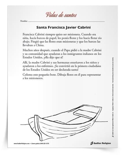 Días festivos de noviembre- Descargue y comparta una actividad imprimible para niños católicos con el objetivo de celebrar el día festivo de santa Francisca Javier Cabrini el 13 de noviembre