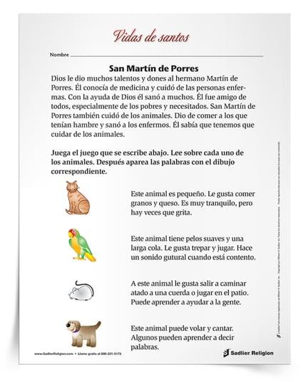 Descargue una actividad para celebrar el dia festivo de san Martin de Porres