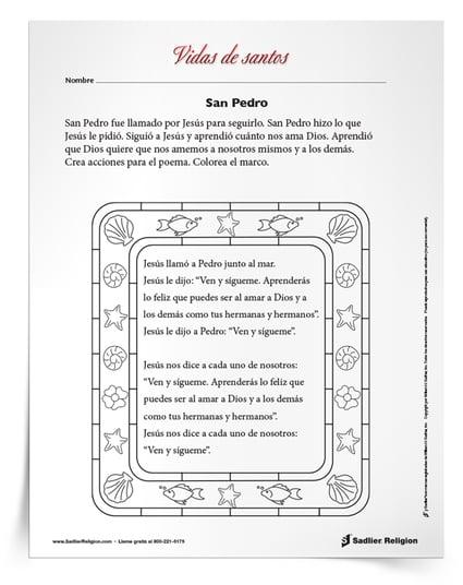 Inspire a los niños católicos con la historia de san Pedro Apóstol y comparta una actividad imprimible. Disponible en español y en inglés.