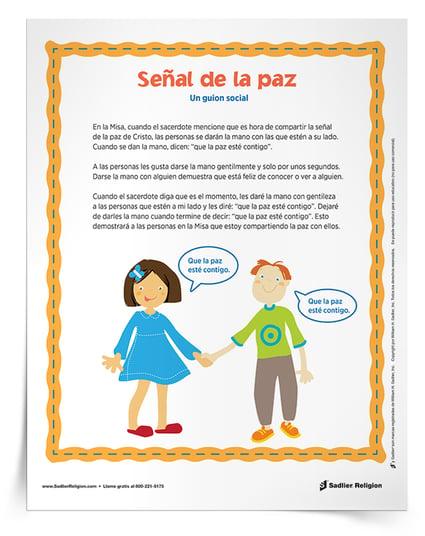 Ayude a que los niños con autismo compartan la señal de la paz durante la Misa con esta historia social para descargar