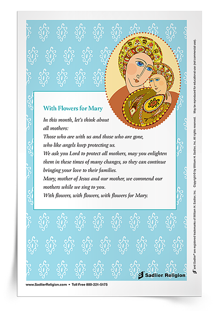 Printable Mary, Mother of God Activities and Prayers - With Flowers for Mary Prayer Card