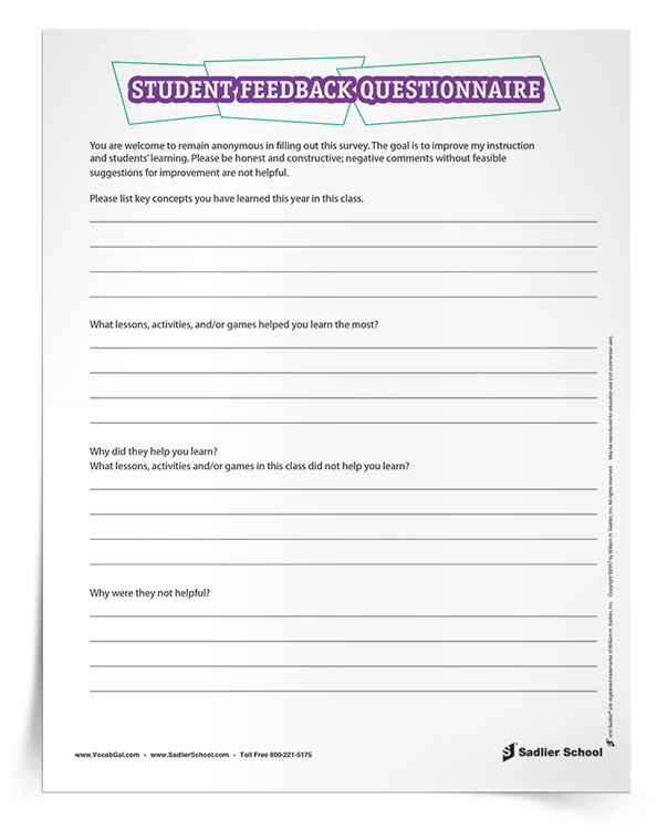 Download the Student Feedback Questionnaire and use it to get feedback from students.
