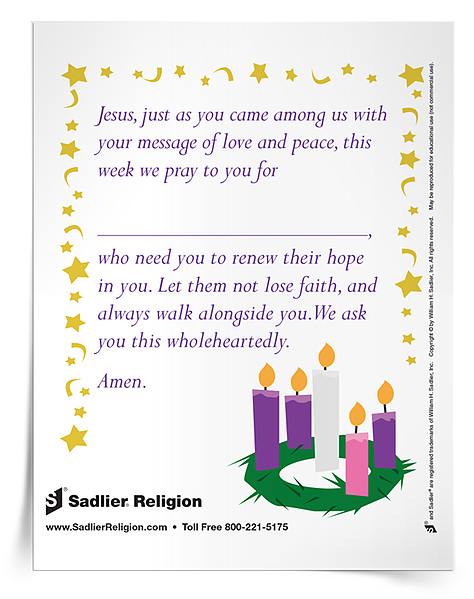 Download this small The Advent Wreath Activity, and practice it with your students, families or community.