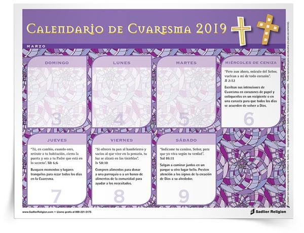 Descargue el Calendario de Cuaresma 2019 y compártalo con las familias en su programa de educación religiosa.