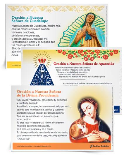 Las devociones marianas son una parte integral e importante de nuestra tradición católica. Cada una de estas Estampas de oración Devociones marianas presentan a María, Madre de Dios, como parte de una cultura latinoamericana diferente.