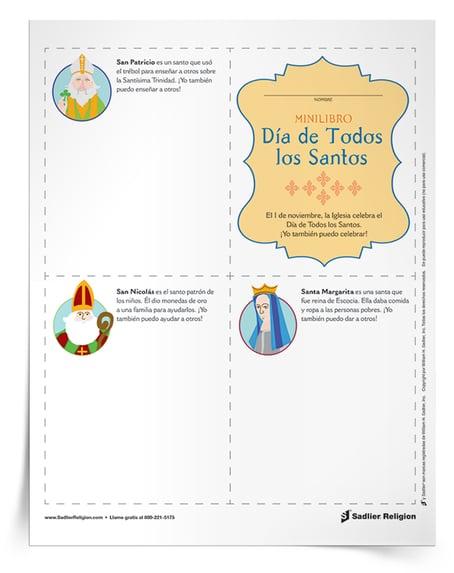 Descargue la actividad para niños pequeños imprimible para celebrar el Día de Todos los Santos. Este minilibro enseña sobre el trabajo de algunos santos y se puede personalizar y compartir con la familia y los amigos.