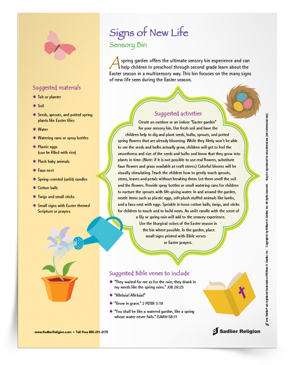 For a springtime sensory bin for children in the preschool or primary grades in your faith formation program, download instructions and inspiration for a Signs of New Life Easter Themed Sensory Bin.