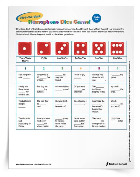 Homophone Dice Games