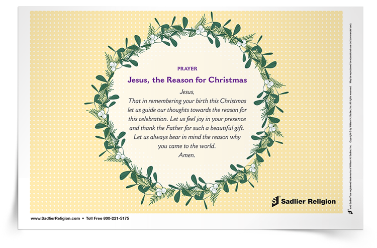 Printable Catholic Christmas Prayers-- Jesus, the Reason for Christmas Prayer Card