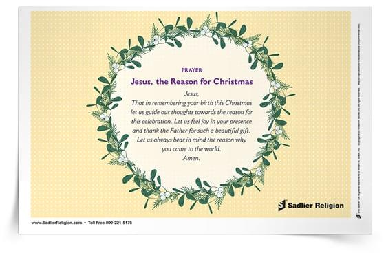 Printable Catholic Christmas Prayers-- Jesus, the Reason for Christmas Prayer Card