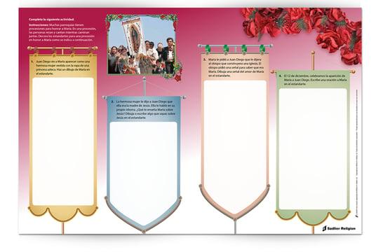 Descargue una colorida Lección de Nuestra Señora de Guadalupe con una celebración de la oración y actividades sugeridas para compartir con los niños en el Día de Nuestra Señora de Guadalupe.