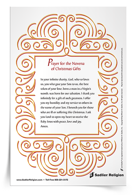 Download the Prayer for the Novena of Christmas Gifts Prayer Card and recite it along with your students and family members these days before Christmas.
