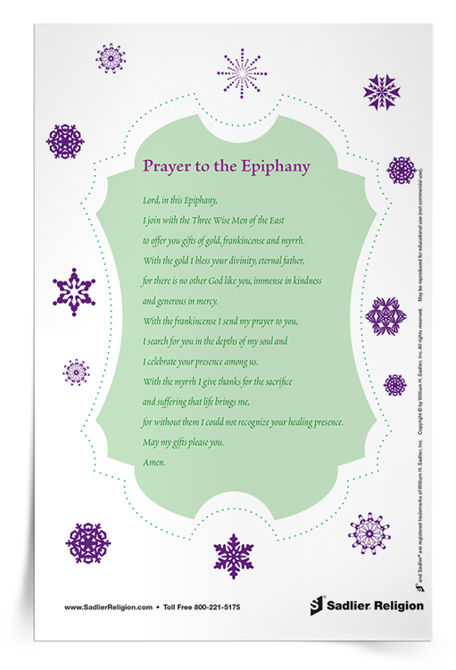 During the Feast of the Epiphany let us offer the best we have unto God and to all others and experience that special moment when the Three Wise Men visited the Baby Jesus with their valuable gifts. Download the Prayer for Epiphany and share it with your family. Available in English or Spanish.
