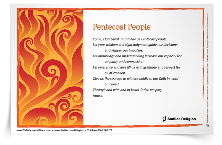 graphic about Articles of Faith Printable Cards named Prayers Actions for the Feast of Pentecost