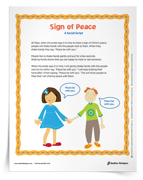 Help children with Autism share the sign of peace during Mass with this downloadable social script.