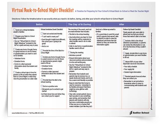 Virtual Back-to-School Night 2020 Resoruces