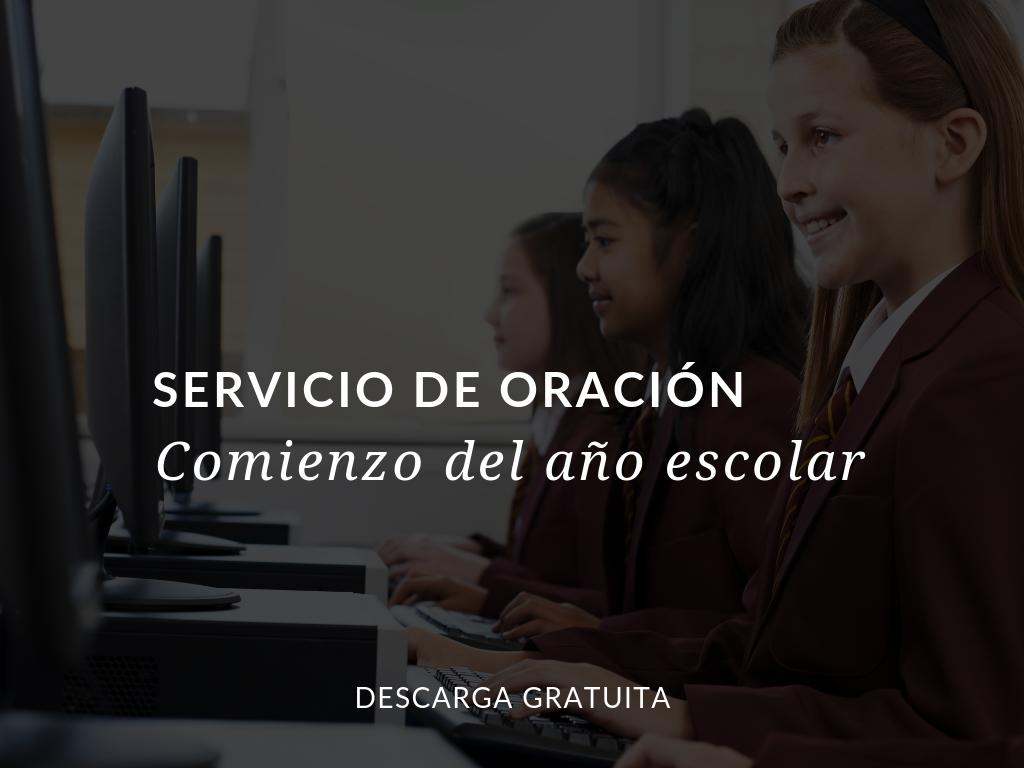 Use este Servicio de oración Comienzo del nuevo año escolar con la clase o con el programa completo para ponerse y poner a su año en la presencia de Dios. Descarga disponible en inglés y en español.