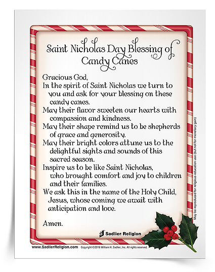 Celebrate Saint Nicholas Feast Day with a blessing and sharing of candy canes. Download the Saint Nicholas Day Blessing of Candy Canes Prayer Card in Spanish or English.