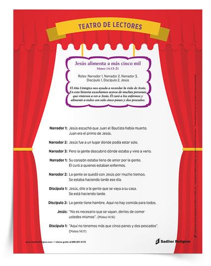 Descargue y comparta el guion de temporada del Teatro de lectores para el año litúrgico, en el cual los niños y sus familias pueden asumir roles de lectura, para volver a contar la historia de Jesús cuando alimentó a más de cinco mil personas.