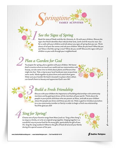 Encourage families to enjoy God's creation together during April. The Springtime Activities for Families handout especially includes four simple activity suggestions that connect family members to God, to nature, to each other as they experience the beauty of the spring season.