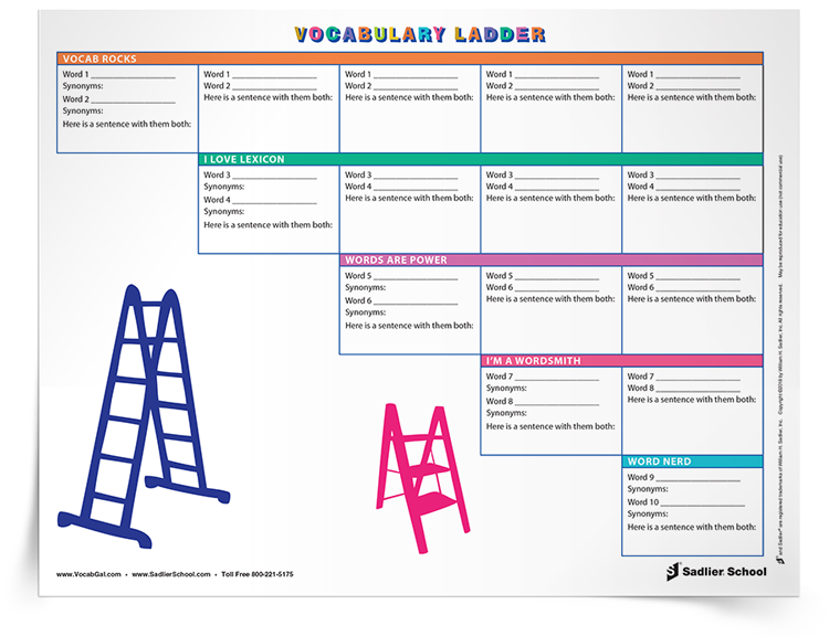 Have students learn and review ten vocabulary words each week using the Vocabulary Ladder Chart. With this vocabulary progress ladder, students will learn two new words each day as well as review the previous day's words.   direct-vocabulary-instruction-direct-instruction-strategies-ladder-chart.png