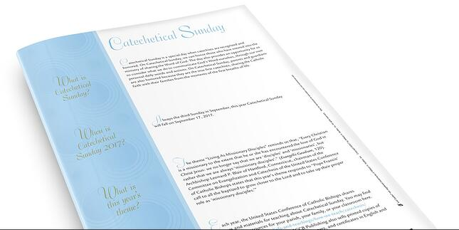 Download an exclusive Catechetical Sunday 2018 Toolkit to bring these, and other, efforts to life for your Catechetical Sunday celebrations.