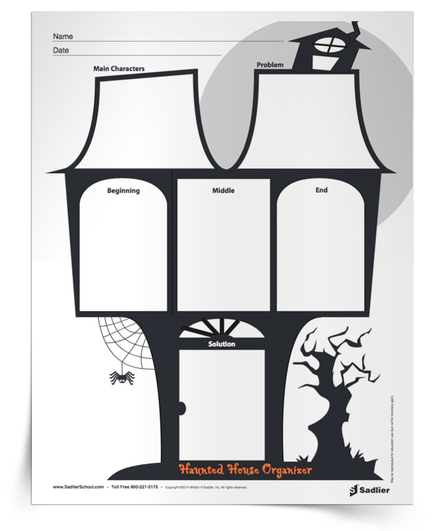 Have students use the spooky Haunted House Story Map graphic organizer with their Halloween book series to identify the main characters, problem, plot events, and solution.