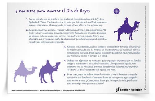 ¡Descargue la Reflexión 5 Maneras para marcar el Día de Reyes y utilícela para generar ideas para celebrar la Epifanía! La descarga está disponible en español y en inglés.