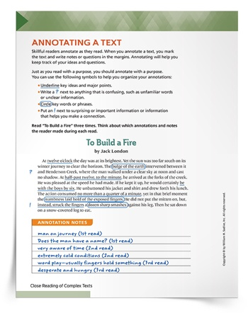 Annotating a text helps students identify questions, confusing language, and important ideas or words that support their deepened understanding. As they keep track of their thinking, students will make connections with what they are reading.  Help students learn how to annotate a text and master this close reading element with the Annotating a Text Practice Sheet.