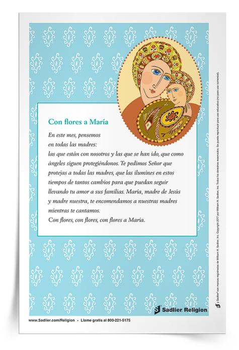 Descargue la Estampa de la oración Con flores a María.
