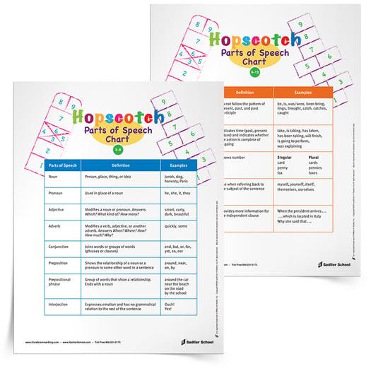 hopscotch to identify parts of speech