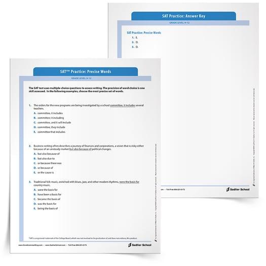 SAT Grammar Practice Worksheet Precise Words
